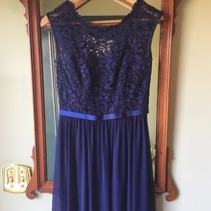 David's Bridal bridesmaid's dress. Navy. Size 4.